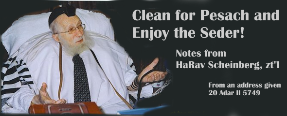 Clean for Pesach and Enjoy the Seder! Notes from HaRav Scheinberg, zt