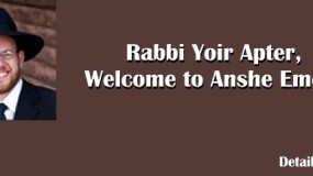 Welcome Rabbi Yoir Apter!