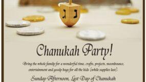 Chanukah Party – Sunday December 16 1pm-3pm