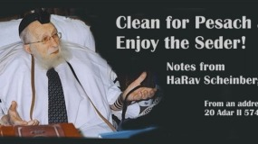 "Clean for Pesach and Enjoy the Seder! Notes from HaRav Scheinberg, zt""l"