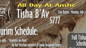 Tisha B'Av 5777:  Davening, Shiurim and Video Schedule